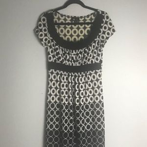 AB STUDIO SCOOPED NECK DOTTED DRESS
